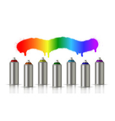 metallic cans of spray paint in various colors vector image
