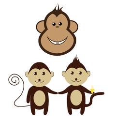 monkey cartoon friend set smile design vector image