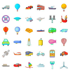 Moving transport icons set cartoon style vector