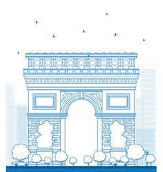 Outline Arch of Triumph in Paris vector image