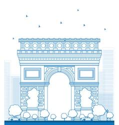 Outline arch triumph in paris vector