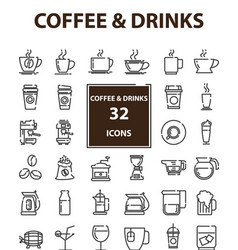 Outline web mono symbol icon set - drink vector