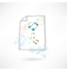 Paper music grunge icon vector