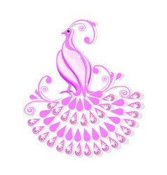 pink bird of paradise with a magic tail vector image