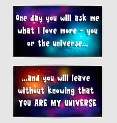 postacrd with sentimental saying cosmic backdrop vector image
