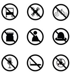 prohibition icon set vector image