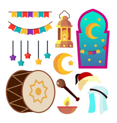 Ramadan icons muslim islam symbols moon vector