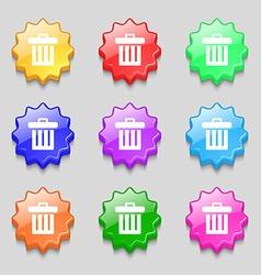Recycle bin icon sign symbol on nine wavy vector