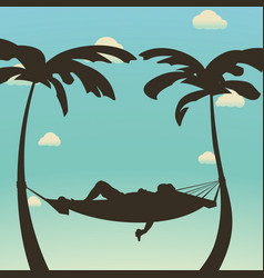 Relax in hammock silhouette vector