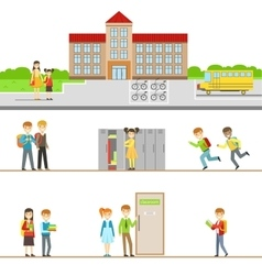 School Building Exterior And Kids In Its Corridors vector image