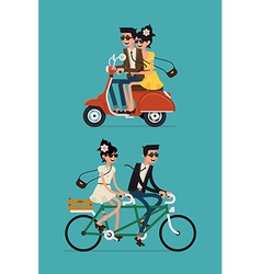 Set of a Couple on a Bike and a Scooter vector