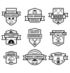 Set of coal mining company emblem templates vector