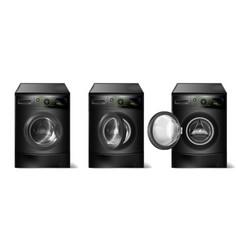 Set of realistic black washing machines vector