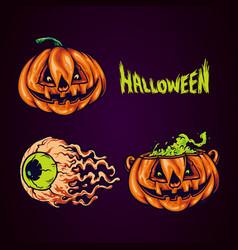 set spooky pumpkin face halloween party vector image