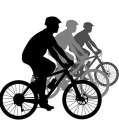 Silhouette a cyclist male vector
