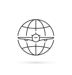 Simple thin line international flight icon vector