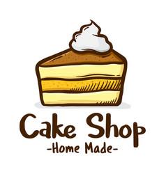 sllice of cake with cream icon logo vector image