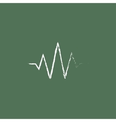Sound wave icon drawn in chalk vector
