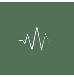 Sound wave icon drawn in chalk vector
