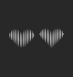 striped heart silhouettes for logo design or vector image