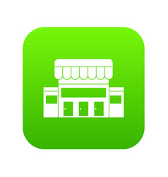 supermarket building icon digital green vector image