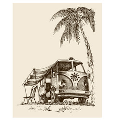 Surf van on the beach under the palm tree vector