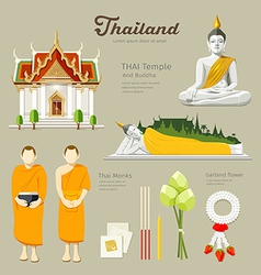 Thai Buddha and Temple with monks vector