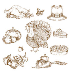 Thanksgiving day elements monochrome set vector