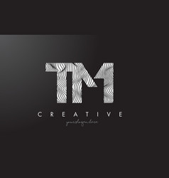 Tm t m letter logo with zebra lines texture vector