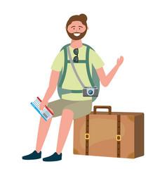 Tourist boy cartoon with bag design vector