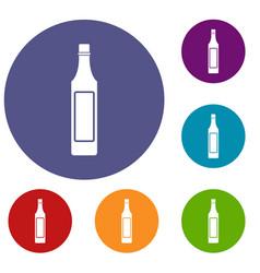 Vinegar bottle icons set vector
