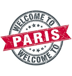 Welcome to Paris red round vintage stamp vector