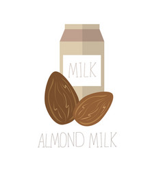 With almond milk lactose free vector