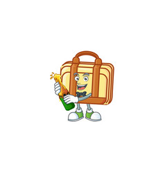 With beer work suitcase character on white vector