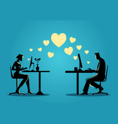 Woman and man chatting online on the computer vector