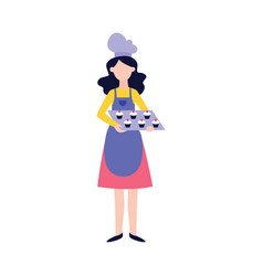 woman in apron and chef hat standing with cupcakes vector image