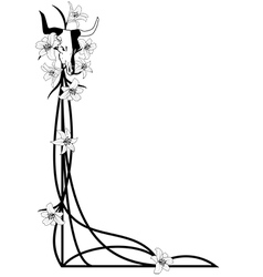 bull skull and lilies vector image