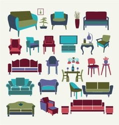 Collection of icons set Interior design elements vector image vector image