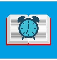 cute boy book open clock vector image