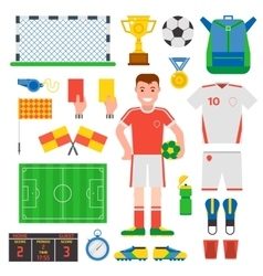 Flat design football soccer icons sport vector