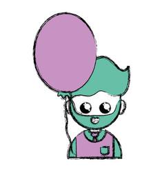 man teacher with uniform clothes and heart balloon vector image