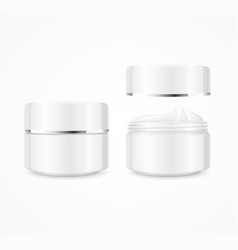 realistic cream can cosmetic product open and vector image