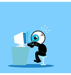 The blue eye working hard with computer vector image vector image