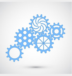 blue gears on grey background infographic concept vector image vector image