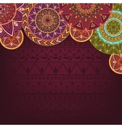 Bordo background with ethnic mandalas vector image vector image