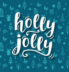 holly jolly christmas greeting card vector image vector image