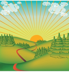 Landscape in the sun vector image