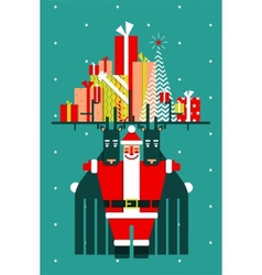 Santa with Deers Gifts and Presents Congratulates vector image