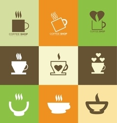 Hot coffee cup logo icon set vector image vector image