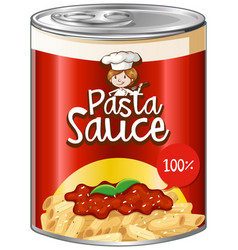 pasta sauce in can with red label vector image